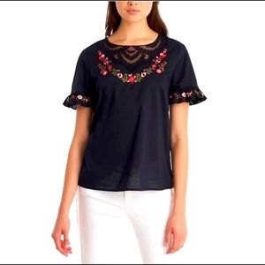 Karl lagerfeild black floral embroidered blouse xs